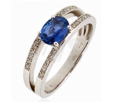 Belancy ring in white gold, blue sapphire and diamonds