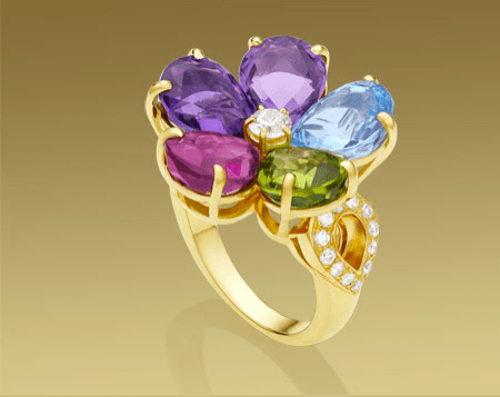 Loud Love Jewelry blue sapphire, amethyst, rubellite, topaz, peridot with pavé diamonds in yellow gold