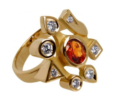 Loud Love Jewelry ring in orange sapphire and diamanates over yellow gold