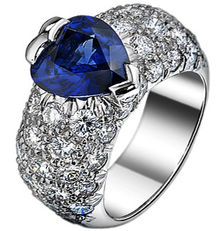 Loud Love Jewelry ring with heart-cut sapphire and diamonds