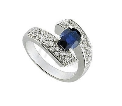 Loud Love Jewelry Blue Diamond and White Gold Ring