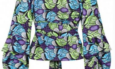 Mysterious Blue Lantern Sleeves Top African Printing Streetstyle